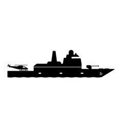 1346 frigate warship with helicopter dock vector image