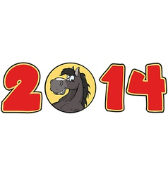 2014 Year Red Cartoon Numbers vector image