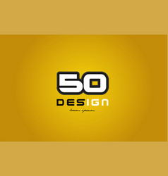 50 number numeral digit white on yellow background vector