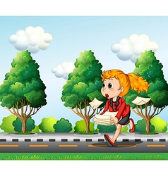 A girl running hurriedly while carrying a pile of vector