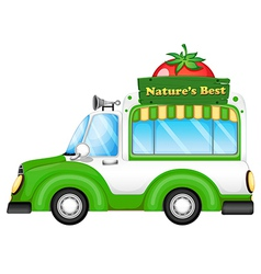 A vehicle with a natures best signboard vector image