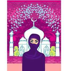 a young beautiful muslim women on seamles vector image