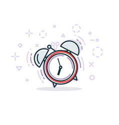 Alarm clock line vector
