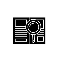 analytical work black icon sign on vector image