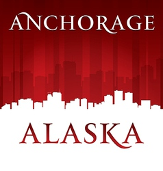 Anchorage alaska city skyline silhouette vector