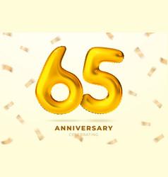 anniversary golden balloons number 65 vector image