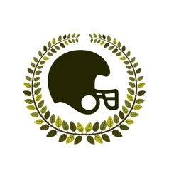 Arch of leaves with American football helmet vector