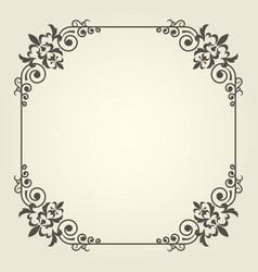 art nouveau square frame with ornate curly corners vector image