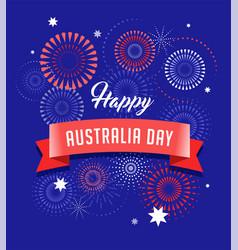 Australia day fireworks and celebration card vector