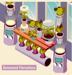 Automated floriculture isometric background vector
