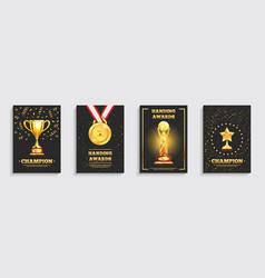 Award gold trophy posters set vector