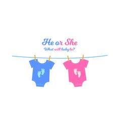 Baby bodysuits with blue and pink footprints vector