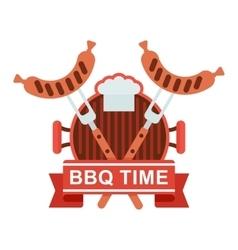Bbq logo grill pan vector