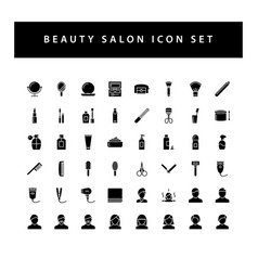 beauty salon icon set with black color glyph vector image