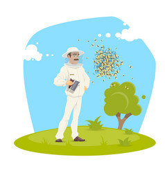 beekeeping apiary and beekeeper design vector image