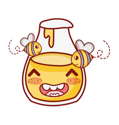 Bees and honey bottle breakfast food cute kawaii vector