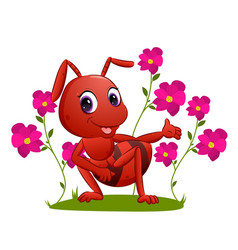 Big ant is showing colorful flowers vector