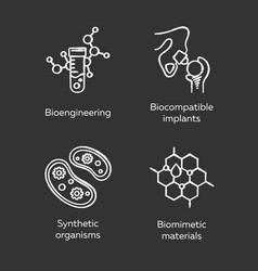 Bioengineering chalk icons set biotechnology vector