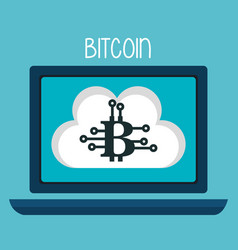 bitcoin business with laptop computer vector image