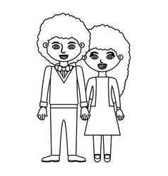 Black contour curly couple woman with dress and vector