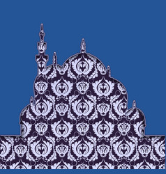 Blue silhouette a mosque with ornament islamic vector