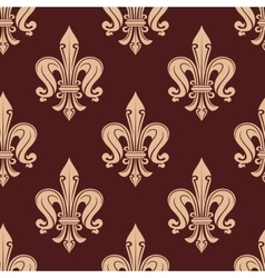 Brown and beige fleur-de-lis floral pattern vector image