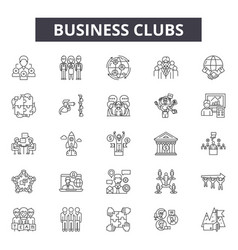 business clubs line icons signs set vector image