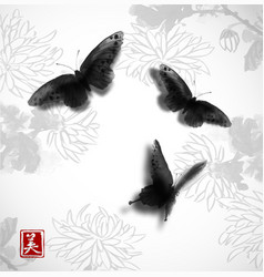 Butterflies hand drawn with ink on background with vector