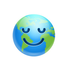 Cartoon earth face smile with closed eyes icon vector