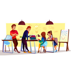 cartoon freelancers designers at coworking vector image