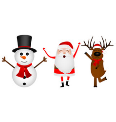 cartoon funny santa claus reindeer and snowman vector image