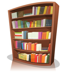 Cartoon library bookshelf vector