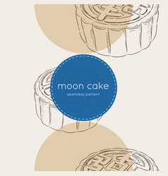 Chinese cuisine moon cake seamless pattern vector