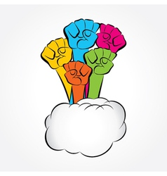 colorful hand show unity vector image vector image