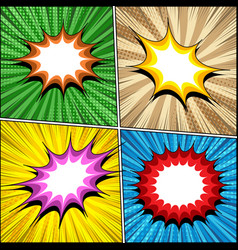 Comic book bright templates set vector