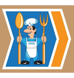 Cook with spoon and fork vector