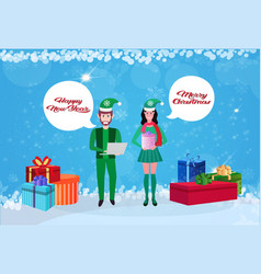 couple man woman wearing elf costume chat bubble vector image