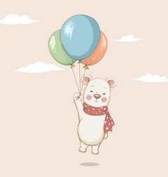cute bear flying with balloons vector image