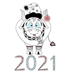 cute bull chinese new year 2021 year bull vector image