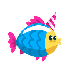 cute colorful fish wearig party hat little sea vector image