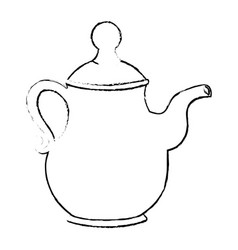 Cute teapot kitchenware vector