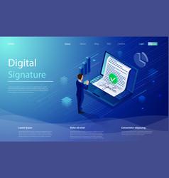 digital signature businessman sign on smartphone vector image