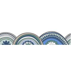 Doodle circle texture horizontal seamless pattern vector