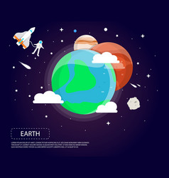Earth mars and jupiter of solar system design vector