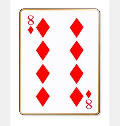 Eight diamonds playing card vector