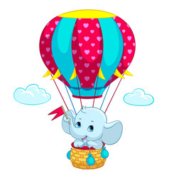 elephant baon hot air balloon cartoon vector image