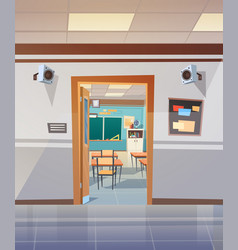 Empty school corridor with open door to class room vector
