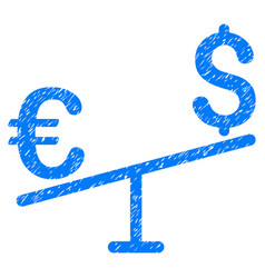 Euro dollar swing grunge icon vector