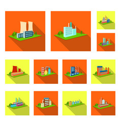 Factory and plant flat icons in set collection for vector