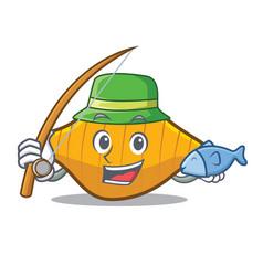 Fishing conchiglie pasta mascot cartoon vector